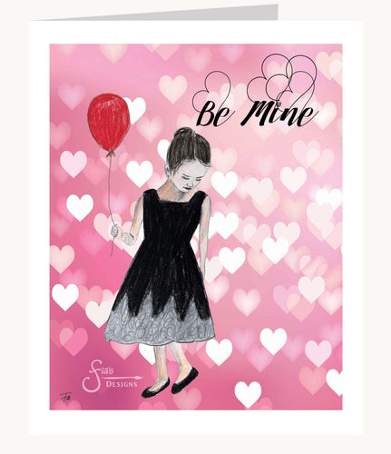 Be Mine Valentine's Day greeting card of brunette girl