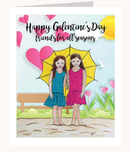 Happy Galentines! Valentine's Day greeting card of brunette girls