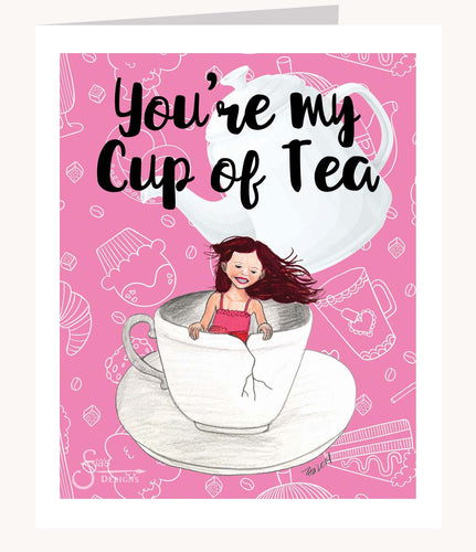 You're My Cup of Tea Valentine's Day greeting card of girl in teacup