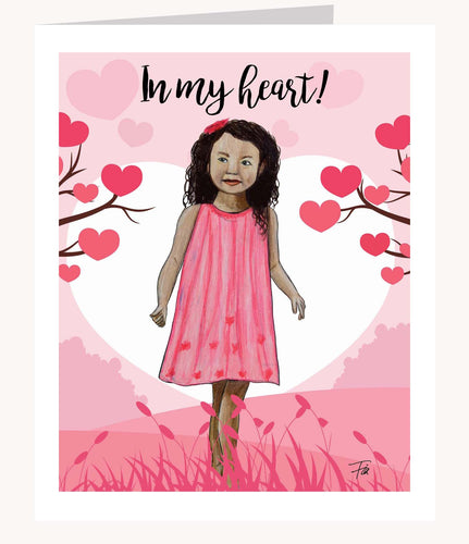 In My Heart Valentine's Day greeting card of brown girl