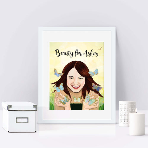 Beauty for Ashes Art Print of Woman with Butterflies