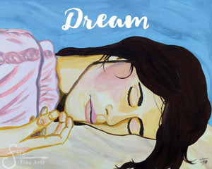 Dream Art Print of Beautiful Woman Sleeping and Dreaming