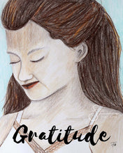 Load image into Gallery viewer, Gratitude Art Print of peaceful brunette girl