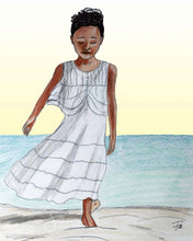 Load image into Gallery viewer, Let Go Inspirational Art Print of Brown Girl walking on Beach