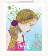 Load image into Gallery viewer, Faith inspirational greeting card of Blonde Girl with head bowed