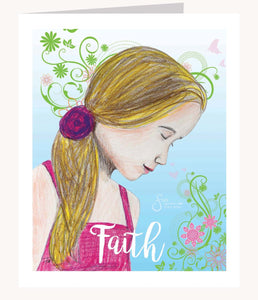 Faith inspirational greeting card of Blonde Girl with head bowed