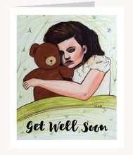 Load image into Gallery viewer, Dream Big inspirational greeting card of Girl Sleeping with Teddy Bear