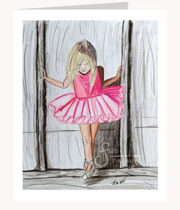 Keep Dancing inspirational greeting card of Little Ballerina in Pink Tutu