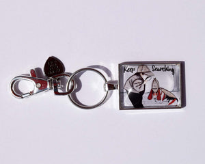 Keep Searching - Boy Sherlock Pendant Keychain with a boy and basset hound dog
