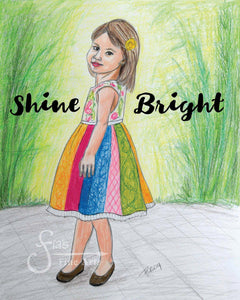 Shine Bright Inspirational Art Print of Blonde Girl in Pretty Dress