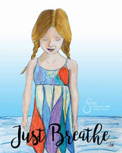 Load image into Gallery viewer, Just Breathe Inspirational Art Print of Girl with braids on beach