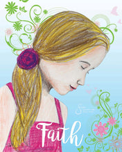 Load image into Gallery viewer, Faith Art Print of Blonde Girl in Pink