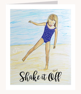 Shake it Off Inspirational greeting card of Blonde Girl on Beach