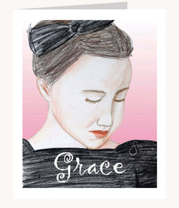 Grace inspirational greeting card of peaceful Girl with Bow in her hair