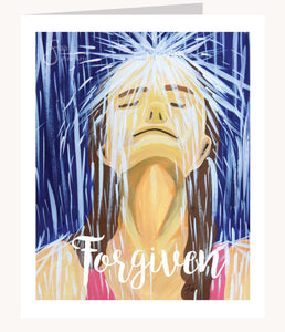 Forgiven inspirational greeting card of Woman in Rain