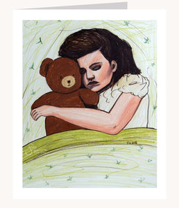 Dream Big inspirational greeting card of Girl Sleeping with Teddy Bear
