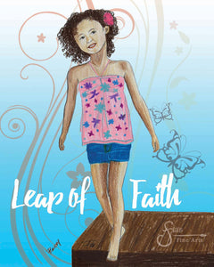 Leap of Faith Inspirational Art Print of Brown Girl with Curly Hair