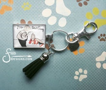 Load image into Gallery viewer, Keep Searching - Boy Sherlock Pendant Keychain with a boy and basset hound dog