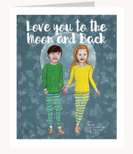 Load image into Gallery viewer, Love you to the moon and back Valentine's Day greeting card of boy and girl