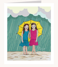 Load image into Gallery viewer, Friends for all Seasons inspirational greeting card of girls in rain holding an umbrella