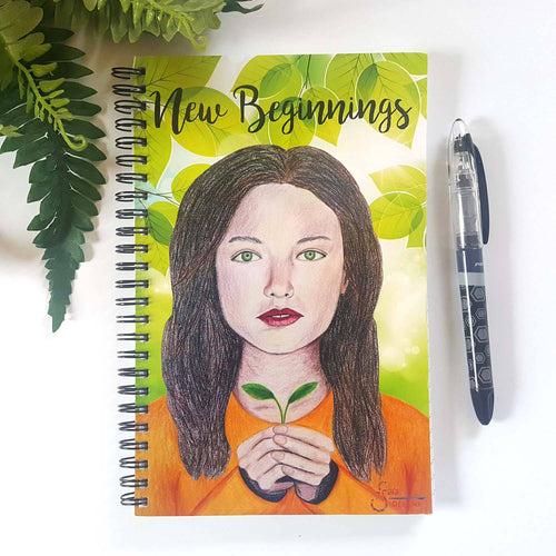 New Beginnings Inspirational Gratitude Journal of green eyed girl with leaves