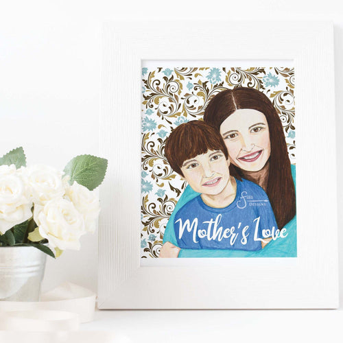 Mother's Love Inspirational Art Print of Mother and Son