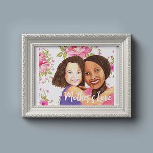 Mother's Love Inspirational Art Print of Mother and Daughter with Brown Skin
