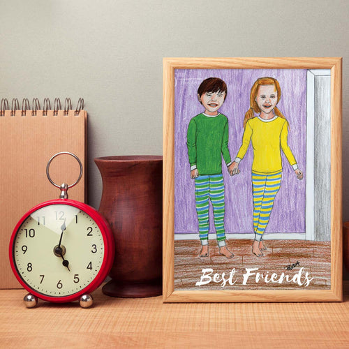 Best Friends inspirational art print of Boy & Girl in pajamas holding hands