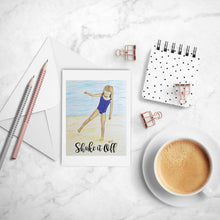 Load image into Gallery viewer, Shake it Off Inspirational greeting card of Blonde Girl on Beach