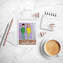 Load image into Gallery viewer, Best Friends inspirational greeting card of Boy & Girl in Pajamas Holding Hands