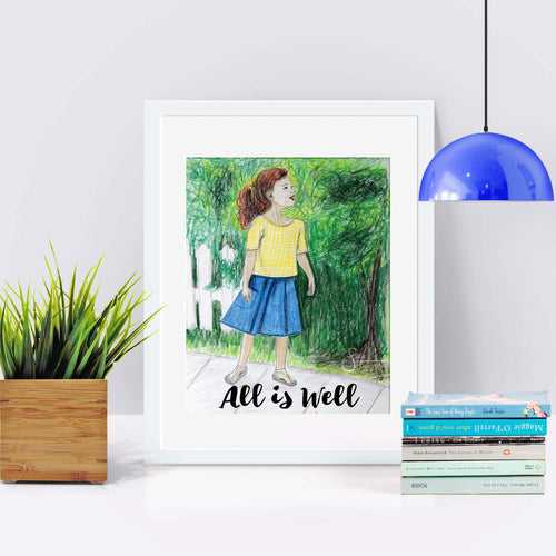 All is Well Inspirational Art Print of brunette Girl with ponytail