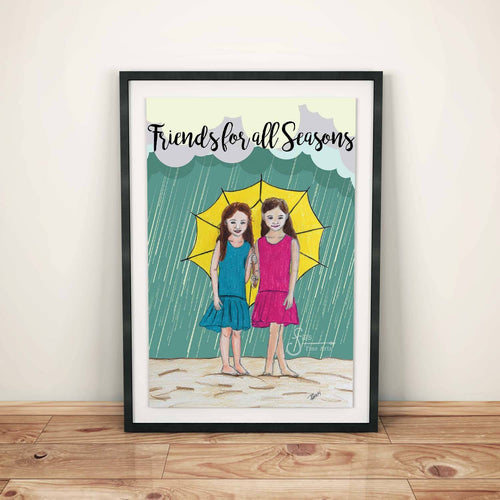 Friends for All Seasons Art Print of two girls in rain holding an umbrella