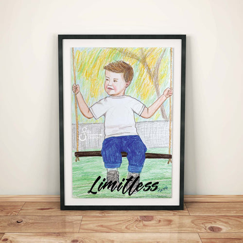 Limitless Inspirational Art Print of Young Boy on Swing