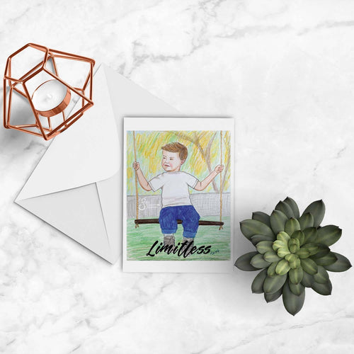 Limitless Inspirational greeting card of young boy on a swing