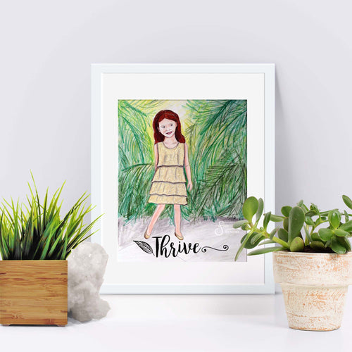Thrive Inspirational Art Print of Redhead Girl with Palm Trees