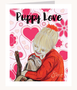 Puppy Love Inspirational Valentines Day greeting card of girl and dog hugging