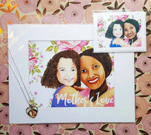 Load image into Gallery viewer, Mother's Love, Brown Girls GIFT SET, of Mother and Daughter hugging
