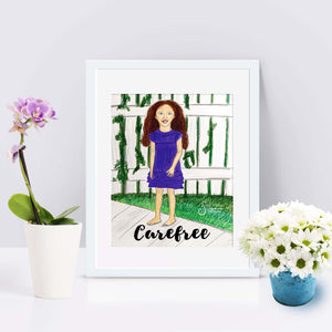Carefree Inspirational Art Print of brunette barefoot Girl