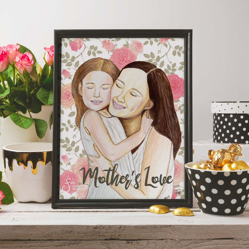 Mother's Love Inspirational Art Print of Mother & Daughter with fair skin hugging