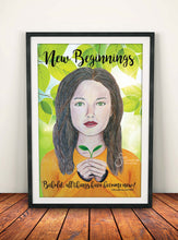 Load image into Gallery viewer, New Beginnings Inspirational Art Print of Brunette Girl with Christian text Corinthians