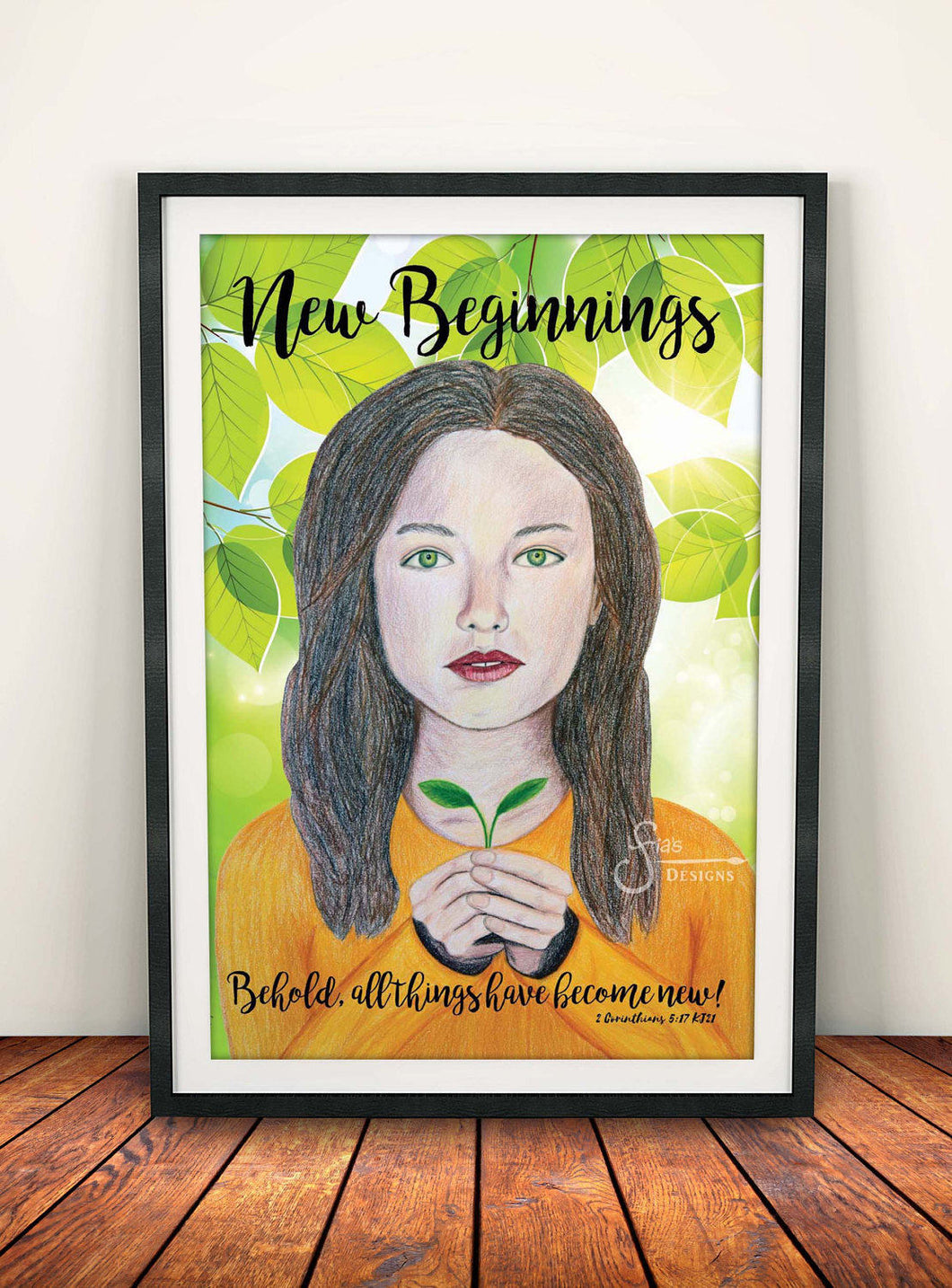 New Beginnings Inspirational Art Print of Brunette Girl with Christian text Corinthians