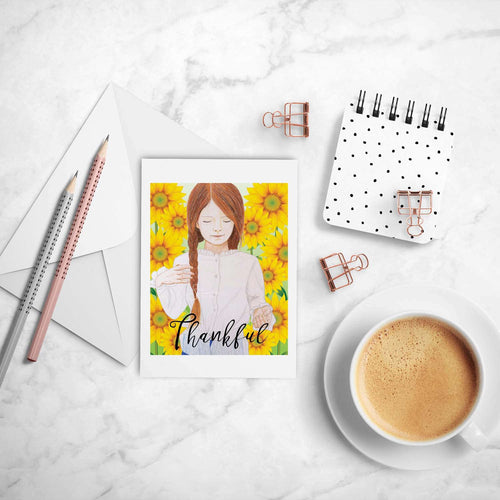 Thankful Sunflowers inspirational greeting card of Redhead Girl