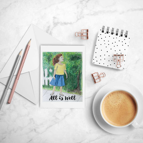 All is Well Inspirational greeting card of brunette Girl outdoors
