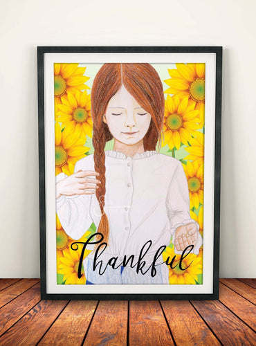 Thankful Inspirational Art Print of Redhead Girl with Sunflowers for Fall & Thanksgiving