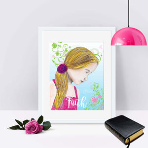 Faith Art Print of Blonde Girl in Pink