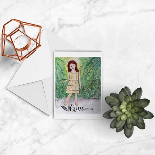 Thrive inspirational greeting card of Redhead Auburn Girl with Palm Trees