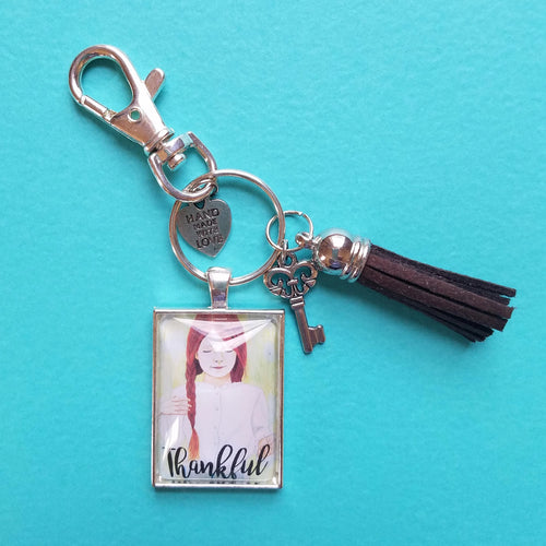 Thankful Pendant Keychain of a redhead girl with braids