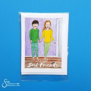 Best Friends inspirational greeting card of Boy & Girl in Pajamas Holding Hands