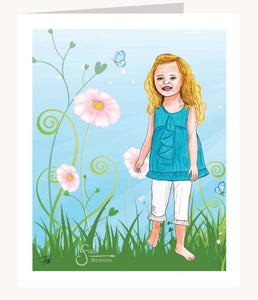 Proverbs She Laughs Without Fear inspirational greeting card of blonde girl