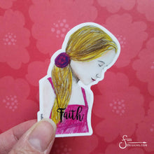 Load image into Gallery viewer, Faith Vinyl Art Sticker of blonde girl
